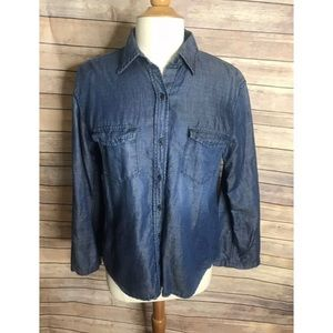 AG Adriano Goldschmied chambray bell sleeve blouse